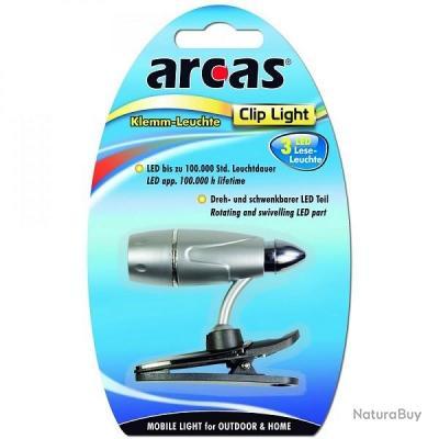 LAMPE DE VOYAGE / DE LECTURE 3 LED AVEC PINCE CLIP PIVOTANTE MULTI POSITIONS ARCAS