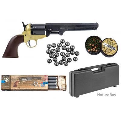 Pack PN Prèt à Tirer! Revolver Pietta 1851 Navy Millenium US Martial Laiton Calibre 44