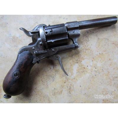 Revolver type Lefaucheux 7mm  éjecteur dans crosse barillet ajouré Allemand très bon fonctionnement