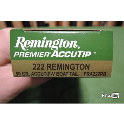 Cartouches REMINGTON ACCUTIP-V BOAT TAIL en 222 Rem 50gr en boites de 20