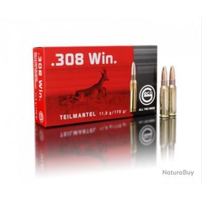Munitions GECO Cal. 308 Win. demi blindée Teil Mantel 11 gr 170G par 20
