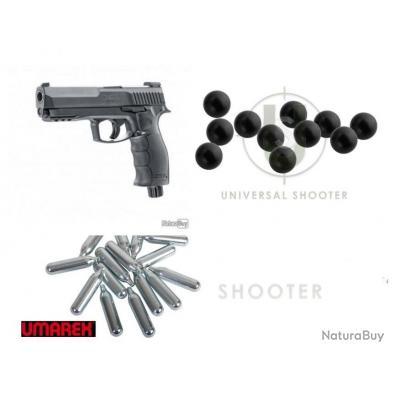 Pack Pistolet HDP50 UMAREX CAL .50 7.5 JOULES + 5 sparclettes + 100 billes caoutchouc + Malette