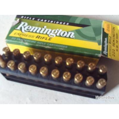 Cartouches 222 Remington chasse x20, demi-blindés
