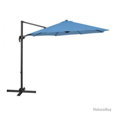 Parasol de jardin meuble abri terrasse rond diamètre 300 cm pivotant bleu 14_0002657