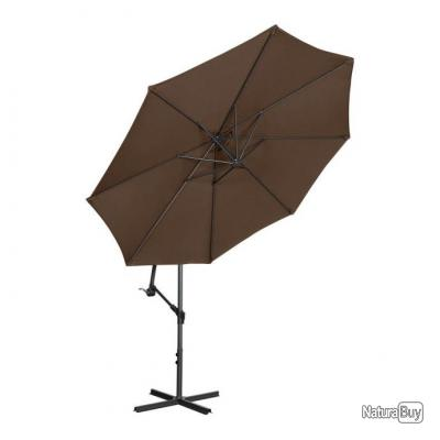 Parasol de jardin meuble abri terrasse rond diamètre 300 cm inclinable marron 14_0002668