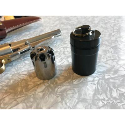 Étui,métal noire pour barillet uberti Remington 1858 cal 44 (stockage des barillets supplémentaires)