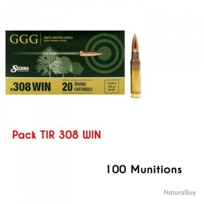 Pack 100 GGG cal.308 Win SIERRA HPBT Match 168 gr