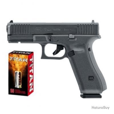 Glock 17 Gen 5 à Blanc 9mm PAK + Malette + Accessoires + 50 balles à blanc