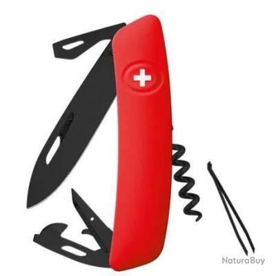 Couteau suisse SWIZA D03 Allblack - Rouge - 11 fonctions