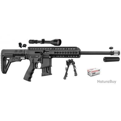 PACK Carabine DEEP PALLAS BA-15 22lr noir + lunette 3-9x50 + silencieux + 50 balles + bi-pied