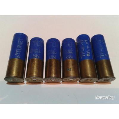6 anciennes cartouches caliibre 12 Magnum et Mini Magnum