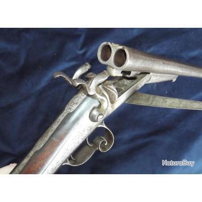 Fusil de chasse juxtaposé a broche canon damas calibre 16 vers 1870