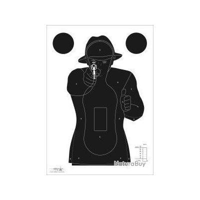 CIBLE GRAVOLUX SILHOUETTE HOMME - CARTON- 50cm X 70cm- X100 quantités-  noire sur fond blanc
