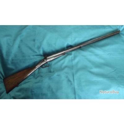Beau fusil a broche a simple clef calibre 16 canon Damas fin XIXe