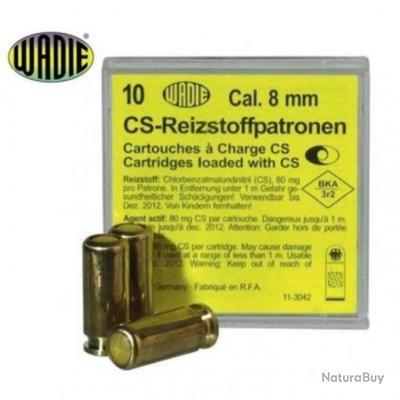 Balle de défence Wadie Cs à gaz - Par 10 - Cal. 8 mm