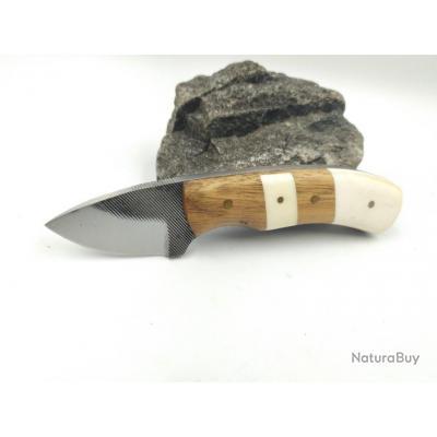Couteau Fabrication Artisanale A partir d'une Lime Acier Carbone Manche Os /Bois Etui Cuir SM002108
