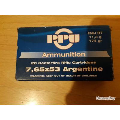 cartouches 7,65 x 53 argentine Mauser