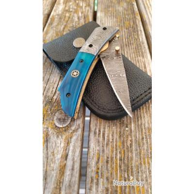 Couteau pliant à lame en acier Damas fait à la main Manche en Bois Etui en Cuir 2712075