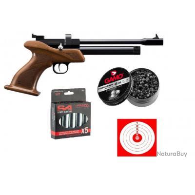 Pistolet Artemis CP1 Multi Shot CAL 5.5 + Chargeur 9 coups +250 Plombs Gamo +5 Capsules Co2+Cibles