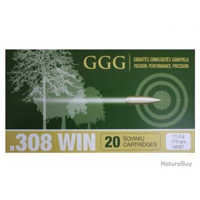 Boite de 20 munitions 308 Win . HPBT Match 175gr - GGG