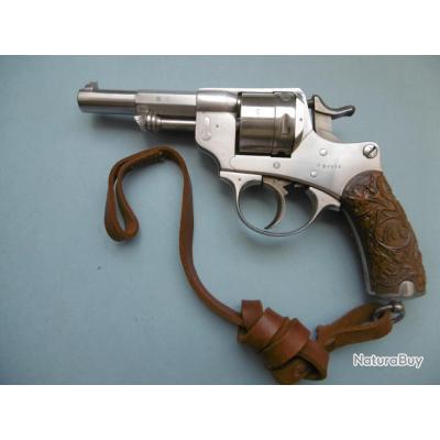 Revolver Réglementaire Français 1873 de 1883 Infanterie de Marine à plaquettes sculptées + Dragonne