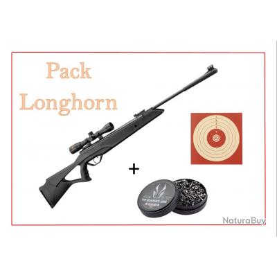 Pack Carabine 19,9J Longhorn cal. 4,5 mm + 100 Cibles + 500 Plombs