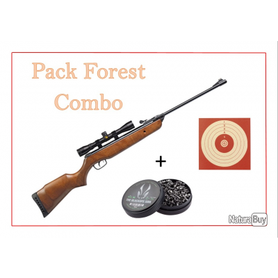 Pack Carabine 14J FOREST COMBO cal. 4,5 mm + 100 Cibles + 500 Plombs