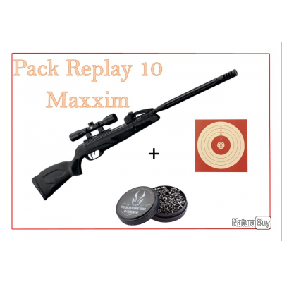 Pack Carabine 19,9J REPLAY 10 MAXXIM cal. 4,5 mm + 100 Cibles + 500 Plombs