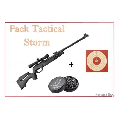 Pack Carabine 19,9J TACTICAL STORM cal. 4,5 mm + 100 Cibles + 500 Plombs