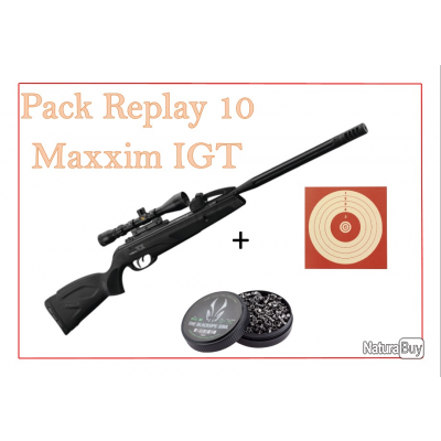 Pack Carabine 29J REPLAY 10 MAXXIM IGT cal. 4,5 mm + 100 Cibles + 500 Plombs