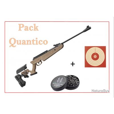 Pack Carabine 19,9J BLACK OPS QUANTICO TAN cal. 4,5 mm + 100 Cibles + 500 Plombs