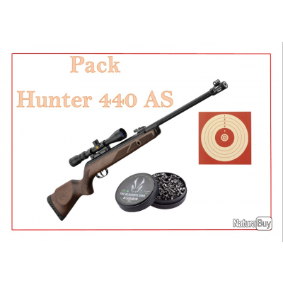 Pack Carabine 19,9J GAMO Hunter 440 AS + lunette 3-9 x 40 WR + 100 Cibles + 500 Plombs