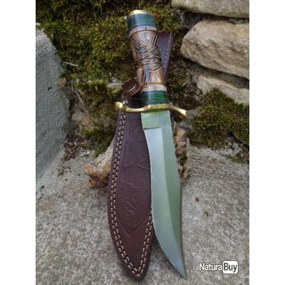 Couteau Frost Cutlery Falling Rock Bowie Lame Acier Inox Manche Os Etui Cuir Indien Chipaway