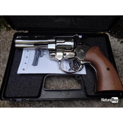 Réplique Revolver Police Python 357 Mag 6 Coups 380mm Calibre Structure Nickel Double Action Bruni