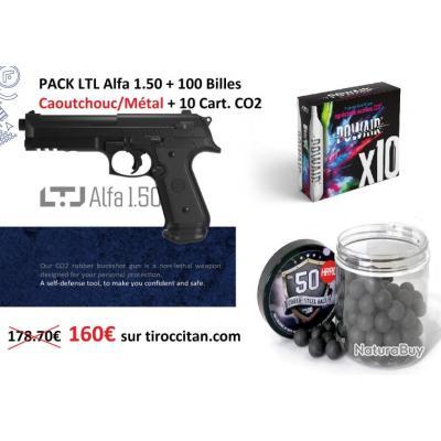 Pistolet de Défense PACK LTL Alfa 1.50 + BILLES CAOUTCHOUC/MÉTAL + CO2