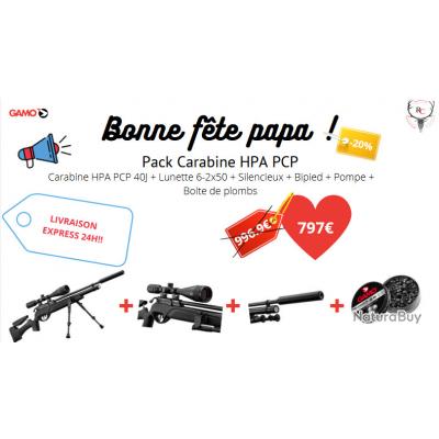 Pack carabine Gamo HPA 5.5 PCP + 6-24x50 + silencieux + bipied + Plombs , Bonne Fête Papa - 20% !