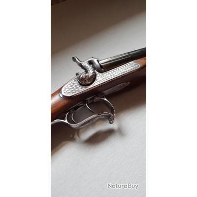 Magnifique ancien fusil juxtaposé de luxe gravure type bouchonné crosse en noyer XIXe