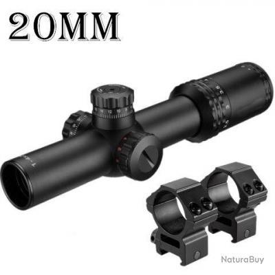 Lunette de chasse 1-4x24 avec rail 20mm - Lumineux - Haute précision - LIVRAISON GRATUITE