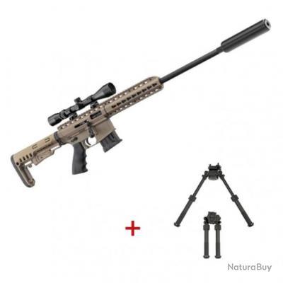 Pack carabine à répétition Pallas silence Ba-15 - Cal. 22LR - Tan / Pack complet