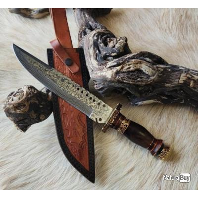 Magnifique couteau DAMAS 256 couches Rite EDGE  très beau travail Artisanal Etui cuir de vache pièce