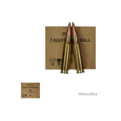 Cartouches GGG calibre 7.62x51 type M80 (308 Win.) à projectile de 147 grains FMJ PAR 20