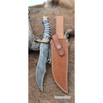 Magnifique couteau DAMAS 256 couches Rite EDGE  très beau travail Artisanal Etui cuir pièce unique