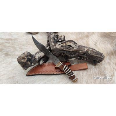 Magnifique couteau DAMAS 256 couches Rite EDGE  très beau travail Artisanal Etui cuir pièce unique P