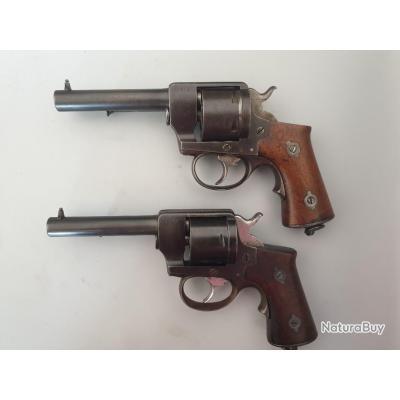 Paire de revolvers Lefaucheux 1870 de marine, civils, cal 12 mm Marine, numéros consécutifs