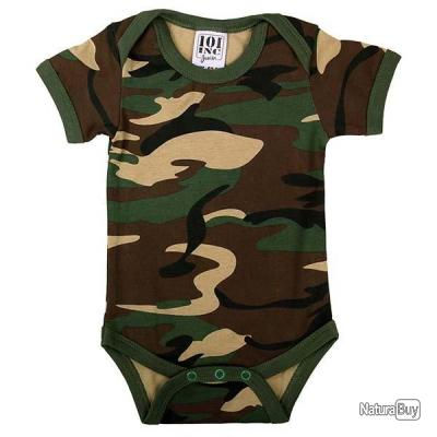 BODY / BARBOTEUSE BEBE MANCHES COURTES CAMOUFLAGE WOODLAND 101 INC JUNIOR taille 86/92