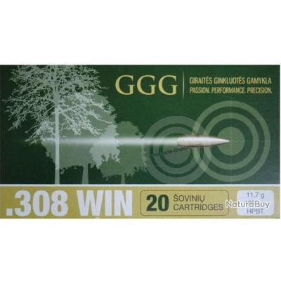 Boite de 20 munitions 308 Win . HPBT Match 180gr - GGG