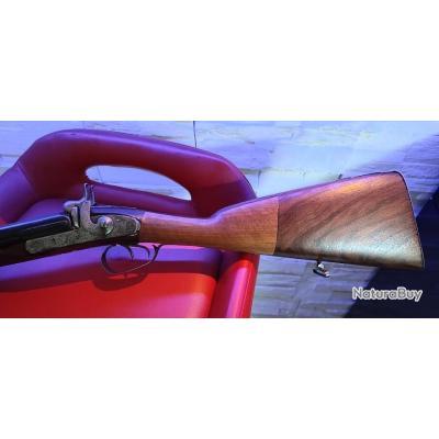 Unique fusil de chasse crosse BI TON XIXe à percussion calibre 12